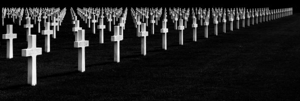 black and white pano of a world war two graveyard