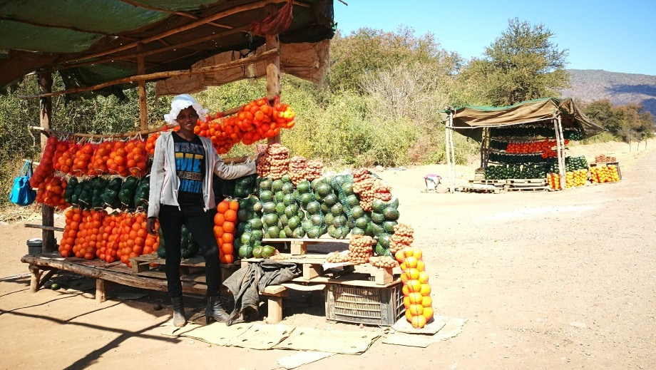 road side stalls selling fresh fruit and vegetables are a common sight on the roads in mpumalanga