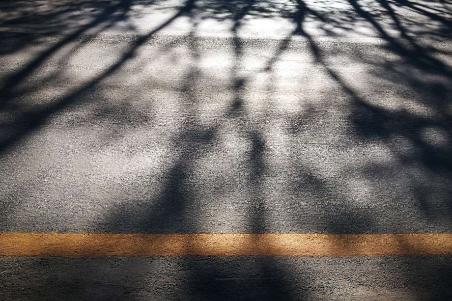 line. tar. shadows. a minimalist image made in the afternoon sun. mpumalanga
