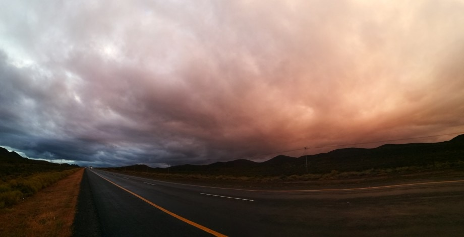 a panorama of beautiful light on the wide-open roads heading south in the western cape