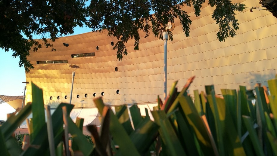 the striking architecture of the soweto theatre in soweto, gauteng.