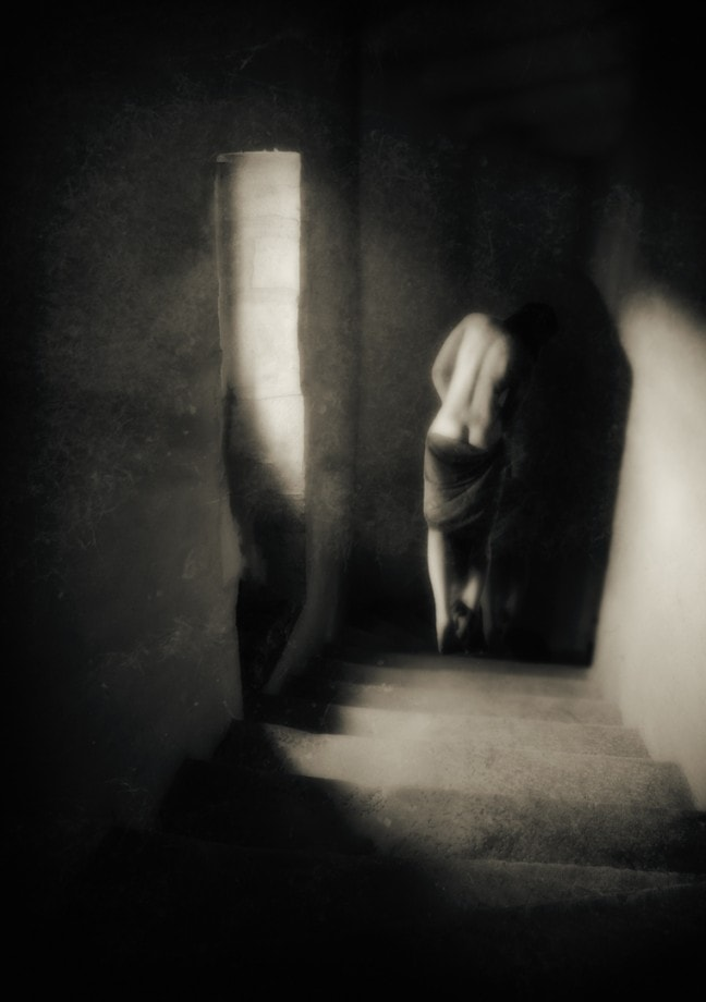 fine art nude of a person walking down the stairs by charlaine gerber
